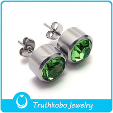 High Polish Rock Style Charm Jewelry Green Stone Cz Stud Earrings with Crystal