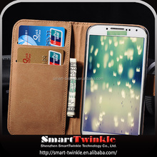 Hard Crystal Clear transparent wallet leather case for samsung galaxy s4