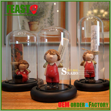 FEAST GD40 series rag baby in bell jar cloche , showcase glass cover