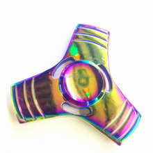 Fashional long-lasting alloy metal fidget spinner toy Rainbow Color hand spinner