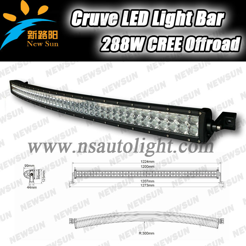 50 Inch Led Work Light Bar 288w Curved High Power Led Work Bar