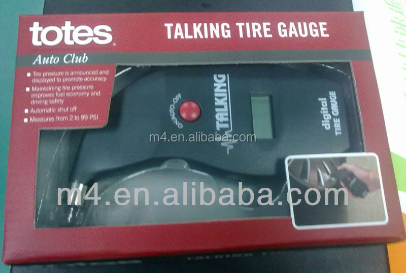 Talking digital tire gauge for car bicycle motocycle etc