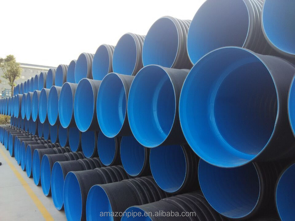 Large diameter HDPE 110mm underground plastic double wall corrugated pipe for sewage pr drainage pice low