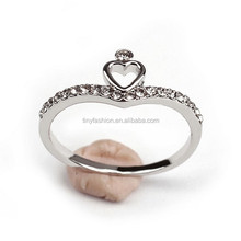 Fashionable Copper Silver Gold Two Tone Plated Micro Pave Heart Shape Crystal Ring Wholesale for Valentine Day Gifts