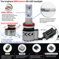 2016 ULIGHT factory the brightest LED headlight H8 H9 H11 car lights led with CREES XHP50 chips and Dual cycle cooling system