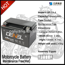 Maintenance free lifan motorcycle accessories12v motorcycle battery,12v mf motorcycle battery(6-MFQ-7)