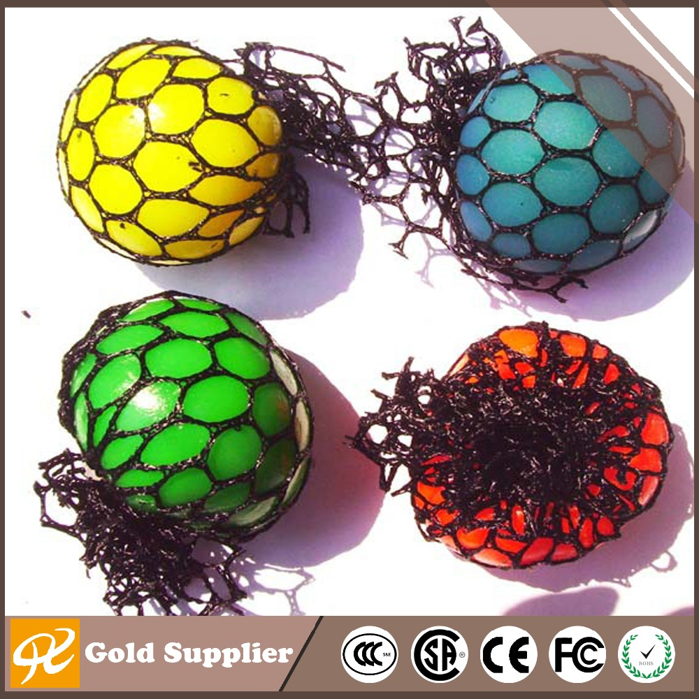Bead Stress Ball Rubber Vent Grape Ball Hand Wrist Toy Mesh Squishy Ball