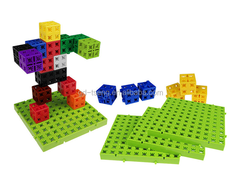 New star linking cubes 10 colors with Board: 10*10*1cm/building block/plastic cube/linking cubes