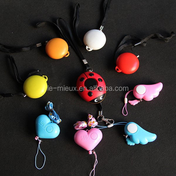 Manufacture Angel Wing Heart Ladybug UFO Football Egg Kitty Shaped Panic Self Defence personal alarm keychain