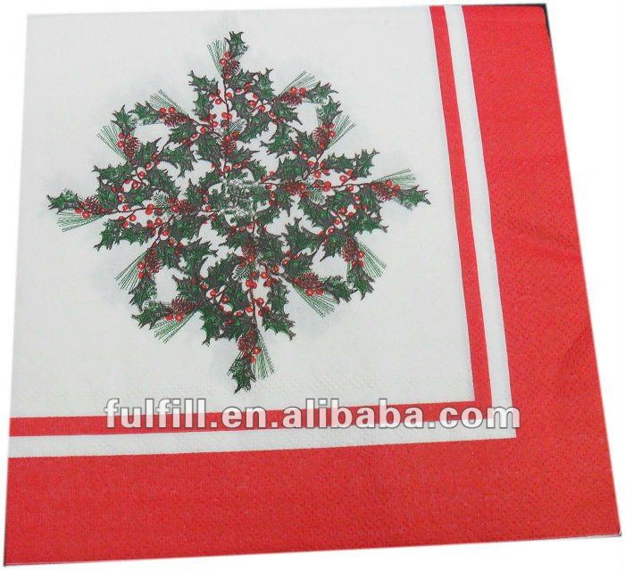 High quality Christmas design colorful napkins /handkerchief/towel/tabe/hotel paper