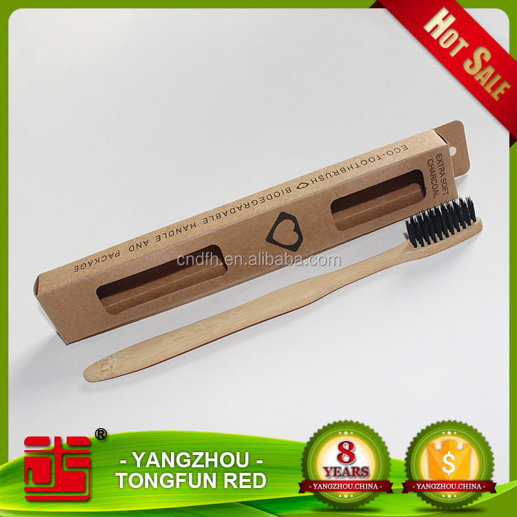 Bamboo toothbrus with charcoal bristle Most popular environmental