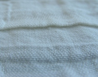 Corrugated white linen cotton fabric