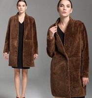 2015 100% Australian Imported Shearling Sheepskin Ladies Long Lamb Fur Coat