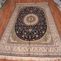 hand made wool silk carpet Luxury hand knotted silk wool carpet rugs