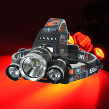 High Bright Rechargeable 1xCREE XML T6 LED Head lamp and 2XCREE XPG R5 Red Light LED most powerful headlamp