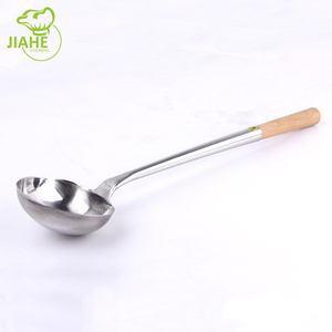 Stainless Steel Cooking Soup Ladle Wok Ladle With Wooden Handle