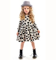 Hot sale girl cute cat printed casual cotton dress children frocks designs 2016
