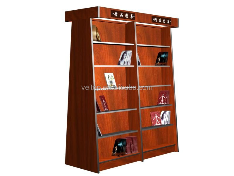 Decorative wooden bookcase with ladder