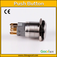 CE waterproof 19mm 1NO1NC self-locking 8 pin push button stainless steel wireless electrical touch switch S1-AGQF-11Z/S