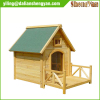 Outdoor ventilated cedar dog house with porch