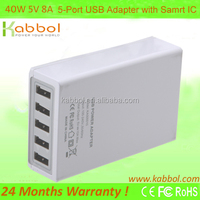 Multi port 40W 5V 8A 5-Port USB Charger with Intelligent Charging IC for iPhone 5s 5c 5; iPad Air mini; Galaxy S5 S4