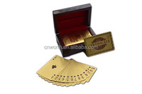 Gold Plated Playing Cards Euro 500 Printed , Gold Decks Poker Play Card with High Quality Wooden Box
