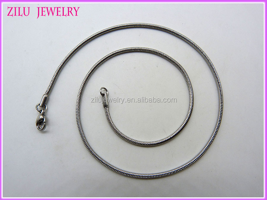 Zilu stainless steel silver color snake chain necklace with various diameter