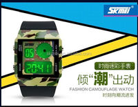 Best selling military fashion design watches digital wrist watch plastic belt led watch with double time display