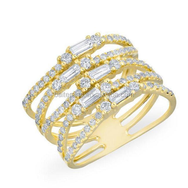 Yellow Gold Plated 925 Sterling Silver Cubic Zirconia Pave Set CZ Diamond Baguette Stacked Ring/Baguette Cut CZ Wide Band Ring