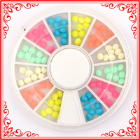 KQH351 Sweet Colors 12 Mix 3D Elliptic Nail Decoration Acrylic Material Nail Wheel