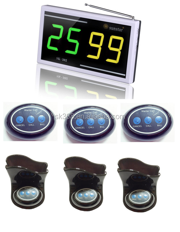 Wireless Service Waiter Remote Call Bell System with LED display, Three Key Table Button and Menu Holder