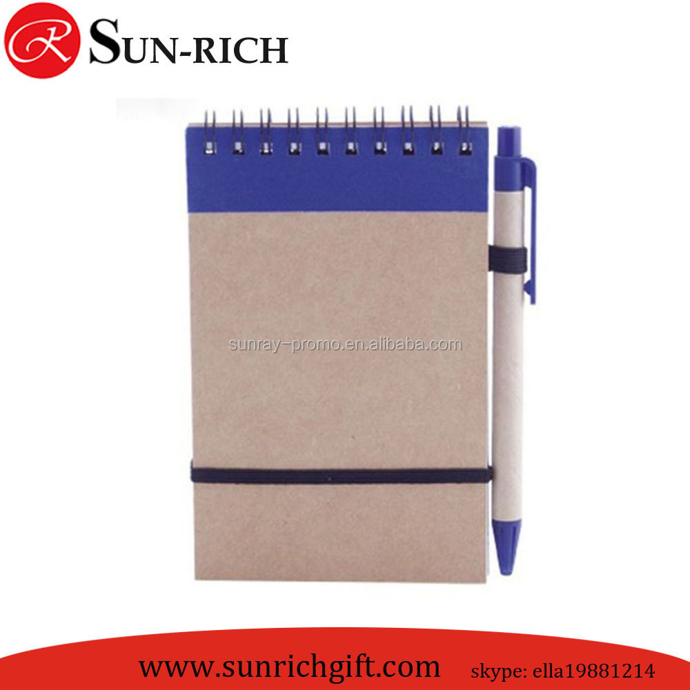 Crraft paper cover cheap bulk spiral notepad with pen for promotion