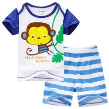 2015 New Baby Boy Sets Monkey T-Shirts+Blue White Stripe Shorts Baby Set Can Open Crotch 0-2Y