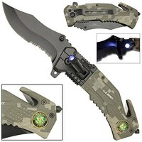 Assisted Opening CAMO Tactical Survival Pocket Knife with LED Flashlight, Firefighter CAMO Pocket Knife