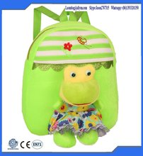 Hebei Fashion Green Colour Plush Animal Shaped School Backpacks for Kids Zoo Animl Backpack Bags