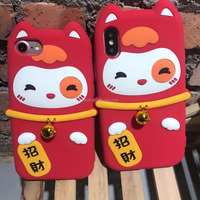 Shockproof Silicone Cell Phone Back Cover Case For iPhone 8 Lucky Cat With Bell 3D animal Phone Case