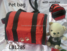 cute round small casual polyester pet dog cat bag with window for shopping and travelling with handle and long zipper closer
