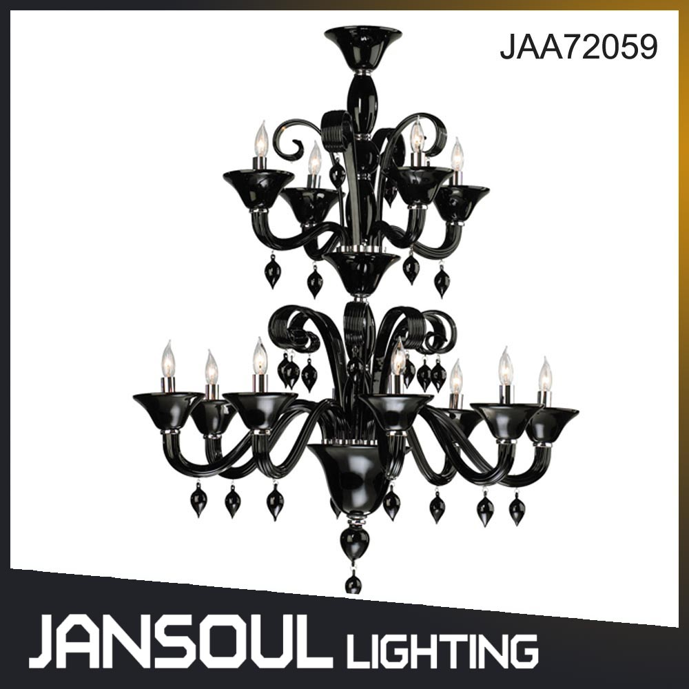 Guzhen Lighting Factory 2 Tiers Murano Black Glass Crystal Chandelier for Wedding Decoration