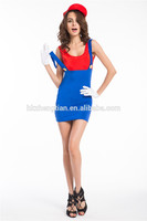 "<span class=""wholesale_product""></span> Women Adult Super Plumber Bros 80s Video Game Fancy Dress Workwoman Costume Hen 593"