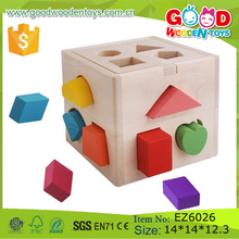New Design Wood Children Game Colorful Intelligent Wooden Shape Sorting Cube Toy Funny Baby Kids Educational Toys for Wholesale