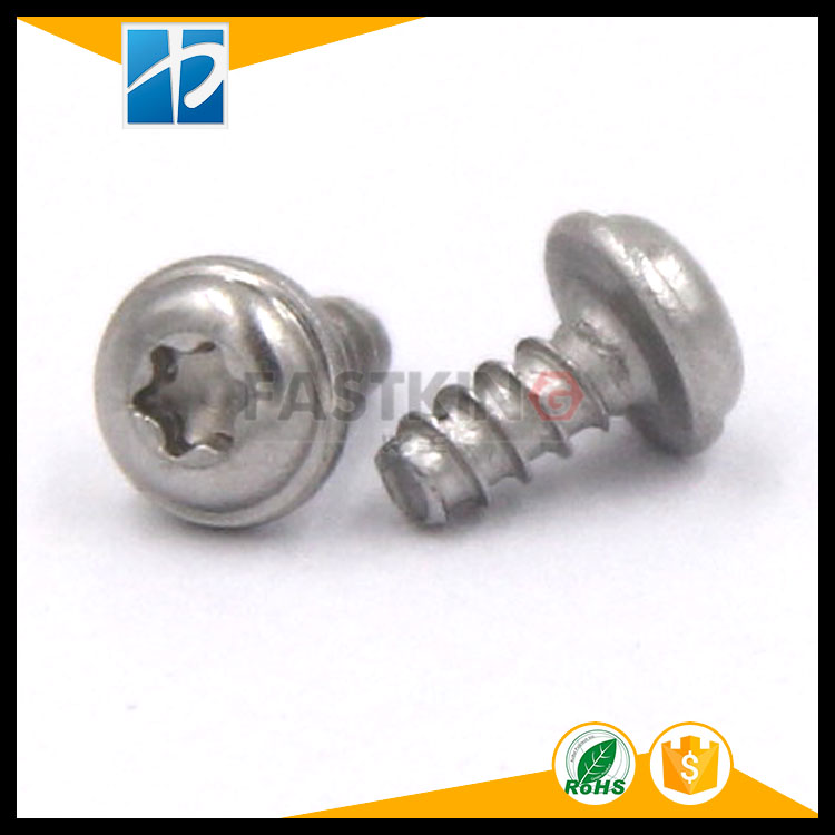 stainless steel 304 pan head torx with washer and flat tail self-tapping screw