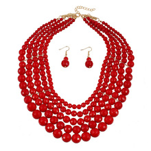 2017Latest design women's exaggerated red color layers pearl jewelry set pearl beaded necklace and earrings