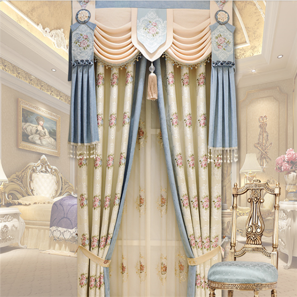 New curtain design 100% polyester luxury jacquard fabric valance drapery fabric curtain