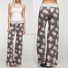WHOLESALE BULK BUY CASAUL STYLE FASHION LATEST DESIGN YOGA PANTS FLORAL PRINT FRENCH TERRY LOUNGE PANTS ONLINE SHOPPING