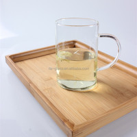 Promotional gift factory handmade blown eco-friendly design coffee milk mug 450ml clear borosilicate glass pitcher water tea cup