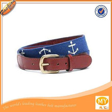 handmade sailor anchor 18 counts mono fabric genuine leather needlepoint belt