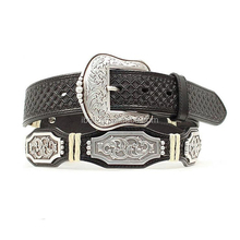 MEN'S SCALLOPED RECTANGLE CONCHO BELT