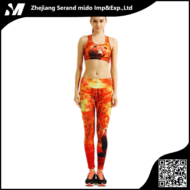 Sports Red Sexy Digital Printing Workout Popular Set