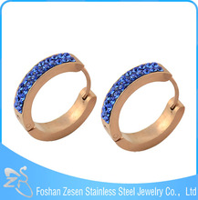 ZS05213 hypoallergenic wholesale crystal hoop earring rose gold blue sapphire earrings