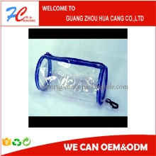 Factory price hot seller round pvc transparent bag/Standup Cosmetic PVC Bag With Slider